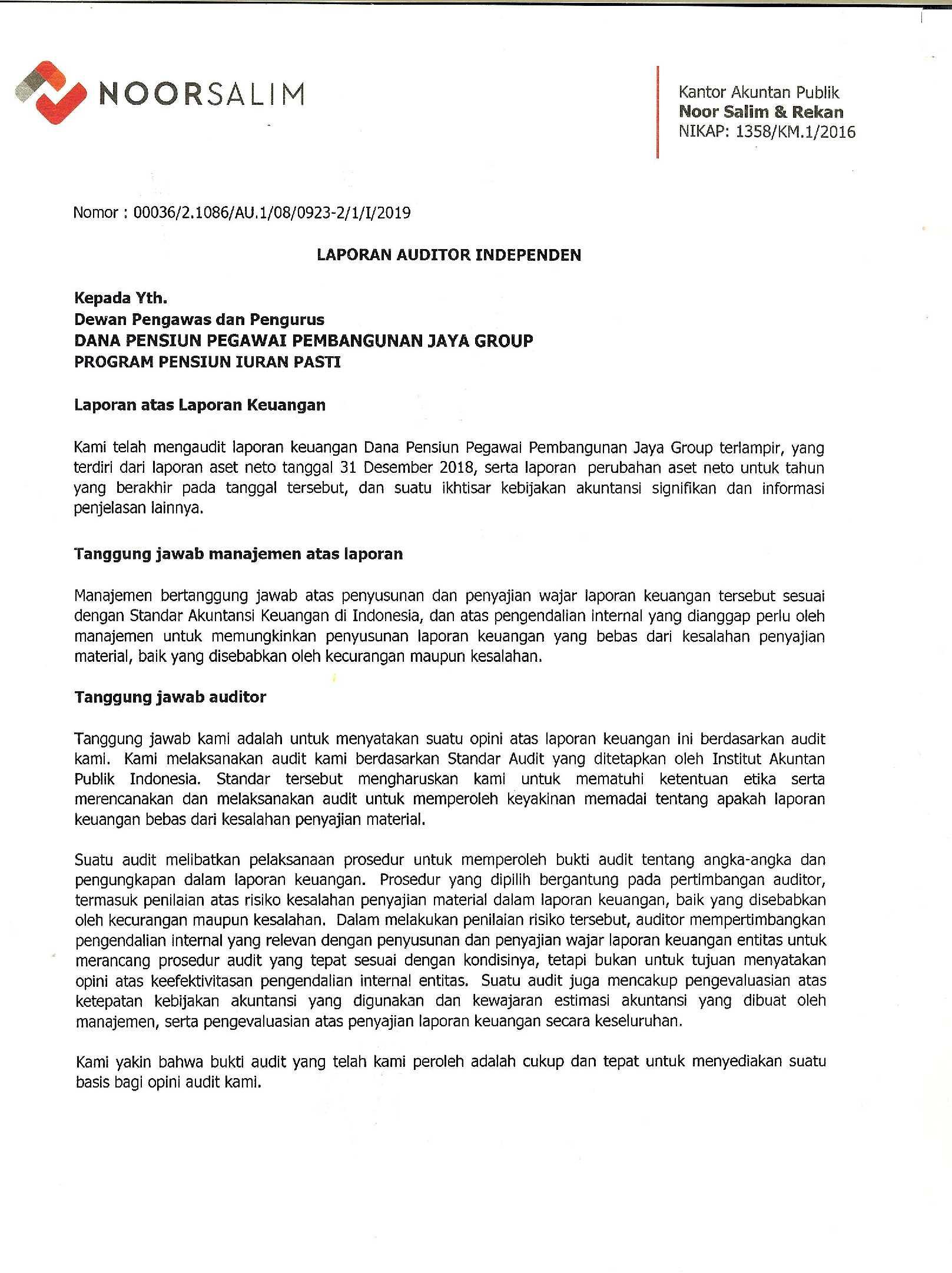 Laporan Hasil Audit Dana Pensiun Pembangunan Jaya Group